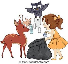 Kid Girl Animals Proper Garbage Disposal - Colorful...