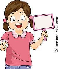Kid Girl Answer Paddle Crayon