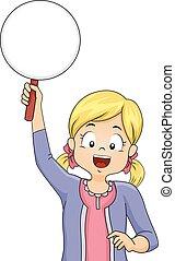 Kid Girl Answering Paddle Raise Hand