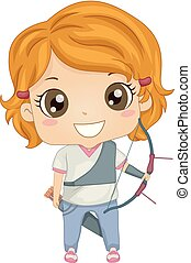 Kid Girl Archery Illustration