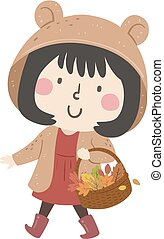 Kid Girl Autumn Collect Leaves Illustration