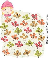 Kid Girl Autumn Leaves Alphabet Illustration