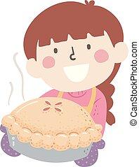 Kid Girl Bake Pie Illustration