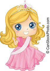 Kid Girl Beauty Queen Costume Illustration - Illustration of...