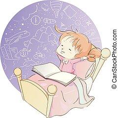 Kid Girl Bed Book Imagination
