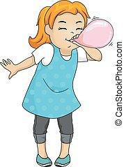 Kid Girl Blow Balloon