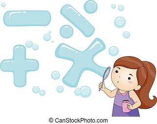 Kid Girl Blow Bubble Math Symbols