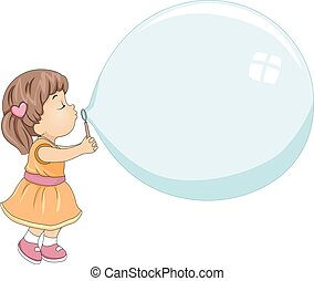 Kid Girl Blow Giant Bubble - Illustration of a Cute Little...