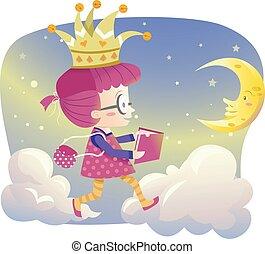 Kid Girl Book Night Moon Walk