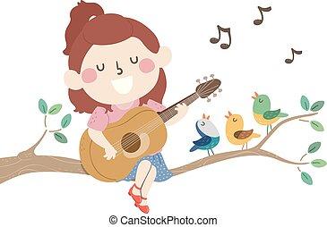 Kid Girl Branch Spring Birds Sing Illustration
