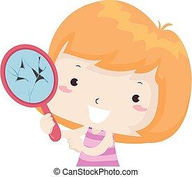 Illustration of a Kid Girl Showing a Broken Mirror. Broken Adjective Sample