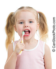 kid girl brushing teeth isolated on white