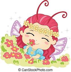 Kid Girl Butterfly Smell Flower