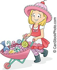 Kid Girl Candies Cart Wheelbarrow - Illustration of a Little...