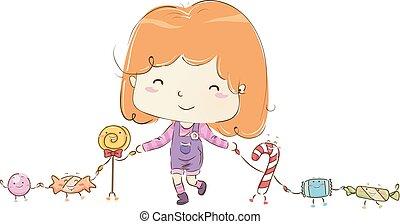 Kid Girl Candy Mascots Illustration