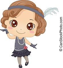 Kid Girl Charleston Dance Illustration