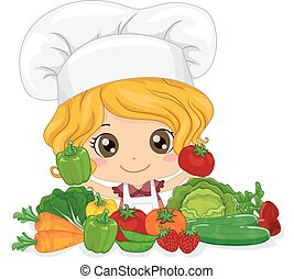 Kid Girl Chef Vegetables - Illustration of a Cute Little...