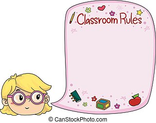 Kid Girl Classroom Rules Speech Bubble