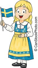 Kid Girl Costume Swedish Flag Illustration