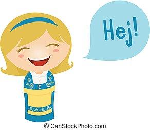 Kid Girl Costume Swedish Speech - Cute Illustration of a...