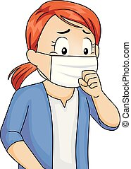 Illustration of a Kid Girl Wearing a Mouth Mask While Coughing