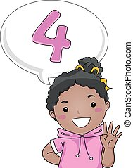 Kid Girl Count - Illustration of a Little Girl Gesturing the...