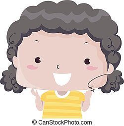 Illustration of a Kid Girl Showing Her Curly Black Hair. Curly Adjective Sample