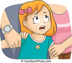 Kid Girl Custody Fight Parents - Illustration of a Husband...