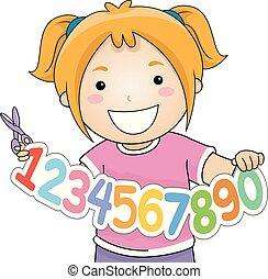 Kid Girl Cut Numbers Illustration