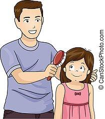 Kid Girl Dad Brush Hair