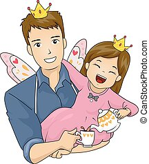 Kid Girl Dad Fairy Tea