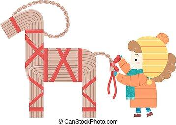 Kid Girl Decorate Yule Goat Illustration