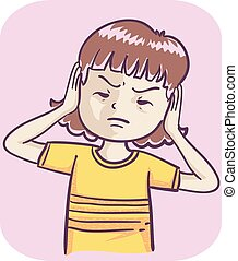 Illustration of a Kid Girl with Hands on Her Ears and Not Listening