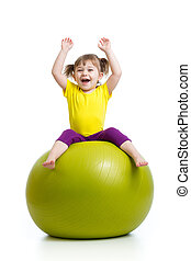 kid girl doing gymnastics with ball over white background
