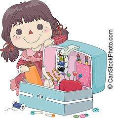 Kid Girl Doll Sewing Kit Organizer