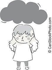 Kid Girl Doodle Dark Cloud Illustration