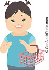 Illustration of a Kid Girl with Down Syndrome Carrying a Grocery Shopping Basket and in a Social Skills Training