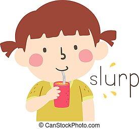 Kid Girl Drink Straw Onomatopoeia Sound Slurp - Illustration...