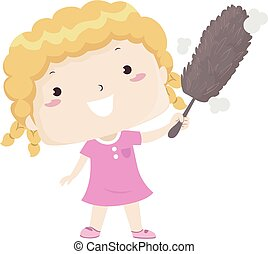 Illustration of a Kid Girl Using a Fluffy Duster Against Something Dusty. Dusty Adjective Sample