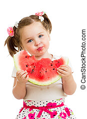 kid girl eating watermelon isolated on white background