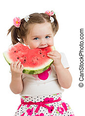 Kid girl eating watermelon isolated on white