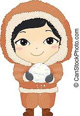 Kid Girl Eskimo Snow Illustration