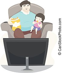 Kid Girl Father Eat Chips Watch Illustration