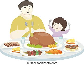Kid Girl Father Eat Foods Desserts Illustration