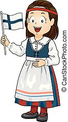 Kid Girl Finland Flag Illustration