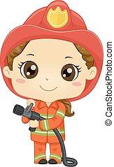 Kid Girl Fireman Illustration