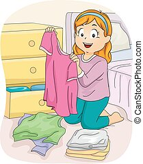 Kid Girl Folding Clothes Shirt