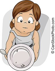 Kid Girl Food Shortage Empty Plate - Illustration of a...