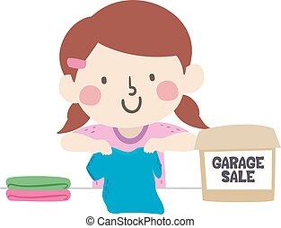 Kid Girl Garage Sale Clothes Illustration