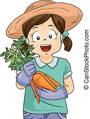 Kid Girl Garden Harvest Carrots